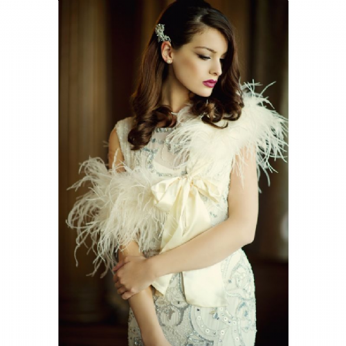 Ostrich feather bridal wrap, wedding stole